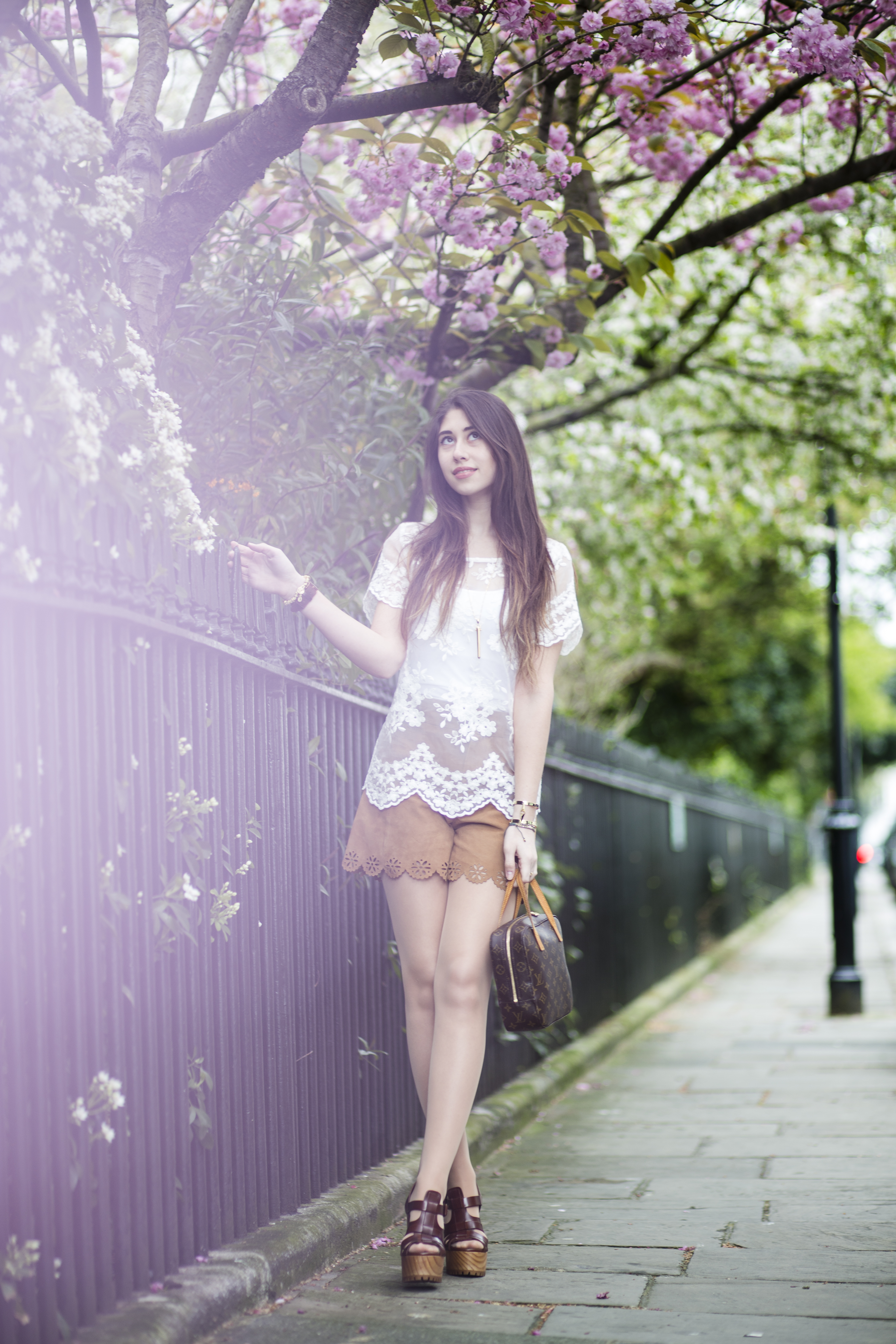 chi chi lace top and zara suede shorts