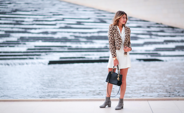 foundation louis vuitton wearing leopard jacket, zara white romper, baublebar choker