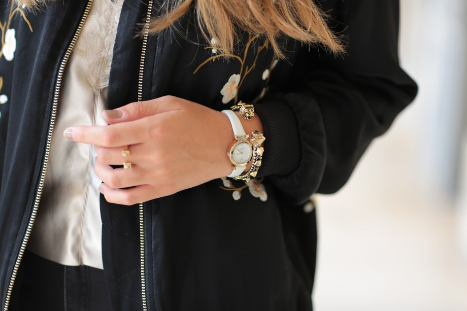 zara embroidered bomber jacket and fiorelli watch