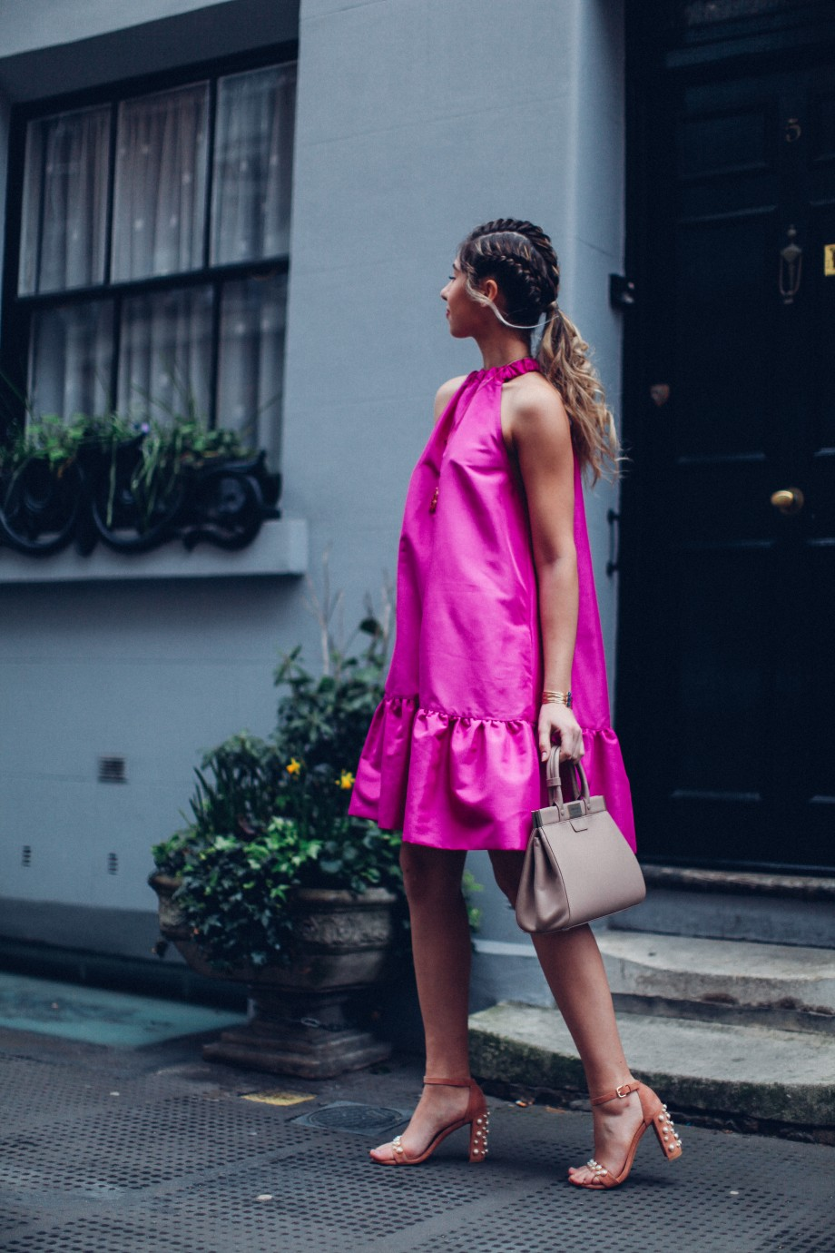 london fashion week streetstyle pink dress, russell and bromley shoes, aspinal bag