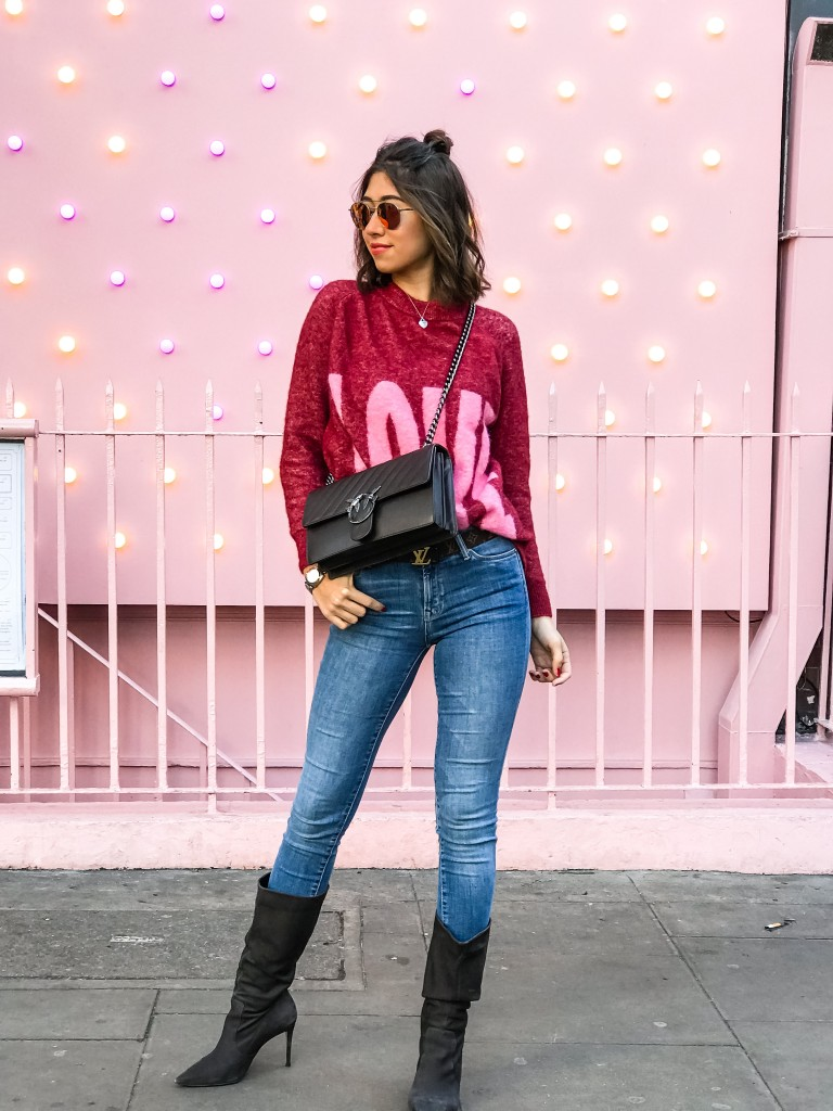 cashmere sweater red hush, pinko love bag, all saints jeans, kurt geiger boots